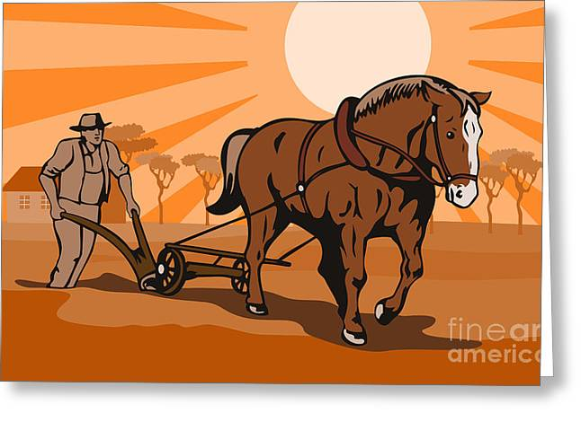 Farmer Plowing Field Greeting Card by Aloysius Patrimonio