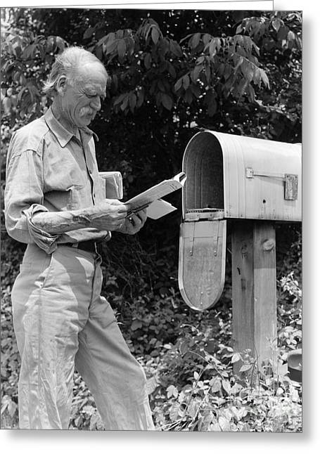 Farmer Reading Mail, C.1940s Greeting Card by H. Armstrong Roberts/ClassicStock