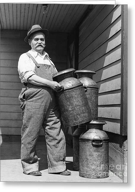 Farmer With Milk Canisters, C.1930s Greeting Card by H. Armstrong Roberts/ClassicStock