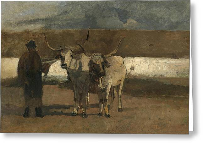 Farmer With Oxen Harness Greeting Card