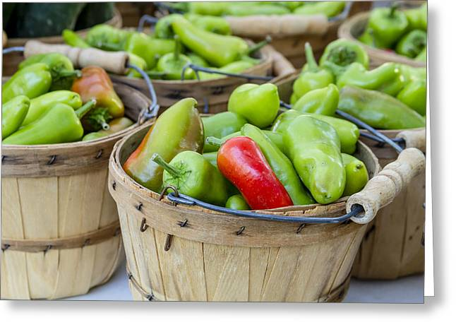 Farmers Market Hot Peppers Greeting Card by Teri Virbickis