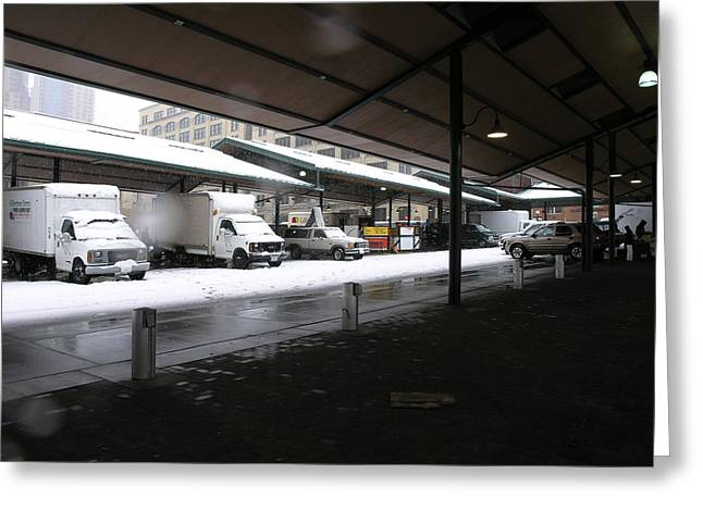 Farmers Market In The Snow Greeting Card by Janis Beauchamp