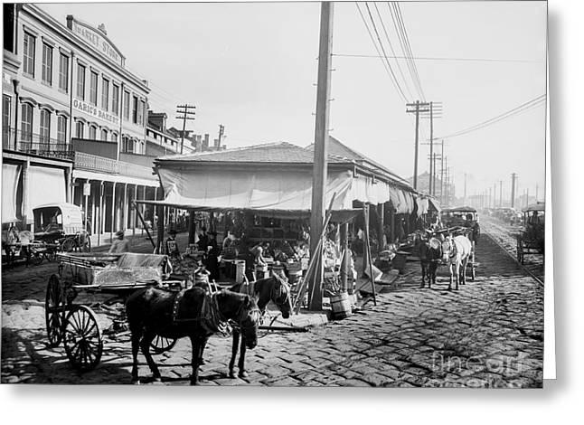 Farmers Market New Orleans Ca 1900 Greeting Card by Jon Neidert