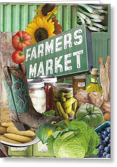 Farmers Market Greeting Card by Robin Frazier