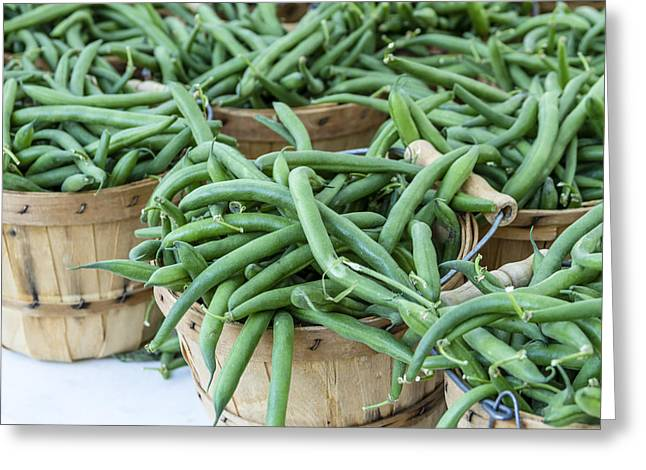 Farmers Market String Beans Greeting Card by Teri Virbickis