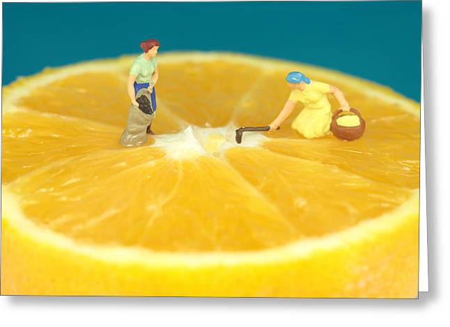 Farmers On Orange Greeting Card