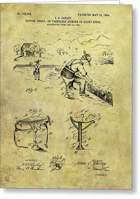 Farmer's Stool Patent Greeting Card by Dan Sproul