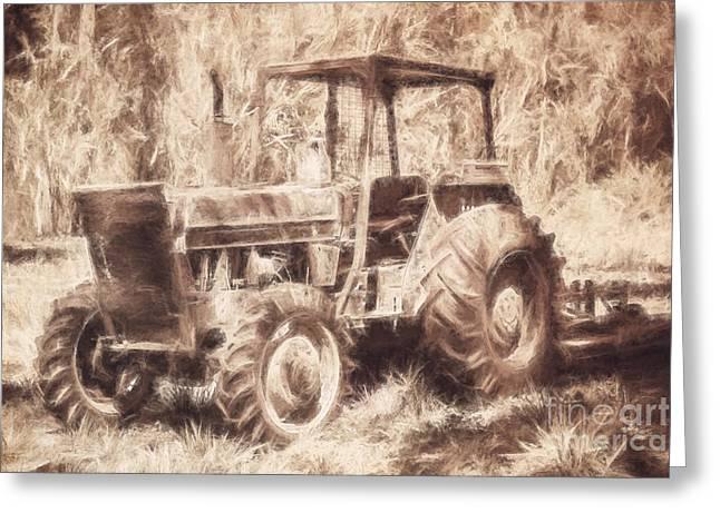 Farmers Tractor Working In Australia Farmyard Greeting Card by Jorgo Photography - Wall Art Gallery
