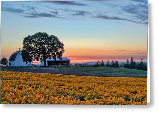 Farmhouse Among The Wallflowers Greeting Card