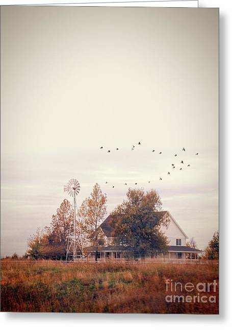 Greeting Card featuring the photograph Farmhouse And Windmill by Jill Battaglia