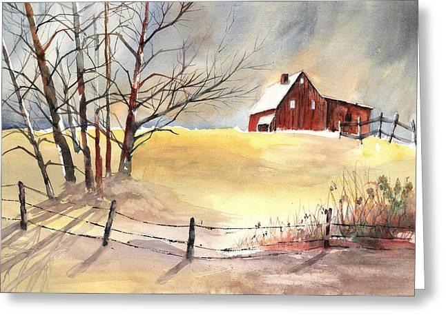 Farmhouse Bathed In Winter Sun Greeting Card by Carol Helene