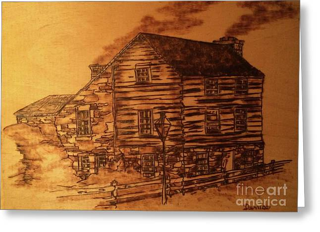 Greeting Card featuring the pyrography Farmhouse by Denise Tomasura