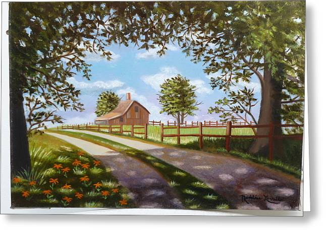 Farmhouse Framed By Trees Greeting Card