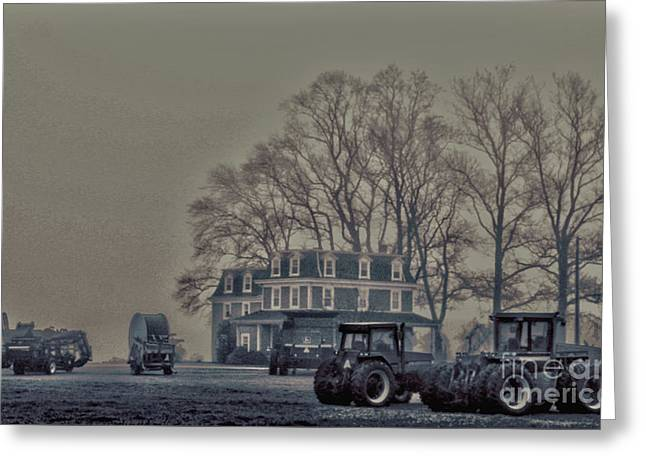 Greeting Card featuring the photograph Farmhouse In Morning Fog by Sandy Moulder