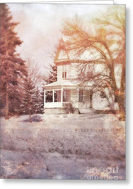 Greeting Card featuring the photograph Farmhouse In Snow by Jill Battaglia