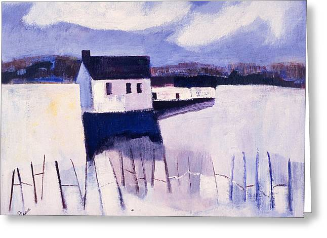 Farmhouse In Winter Greeting Card by Betty Pieper