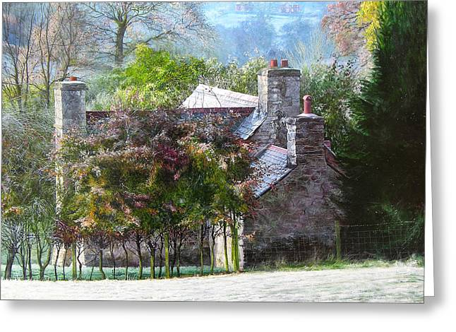 Farmhouse On A Cold Winter Morning. Greeting Card by Harry Robertson