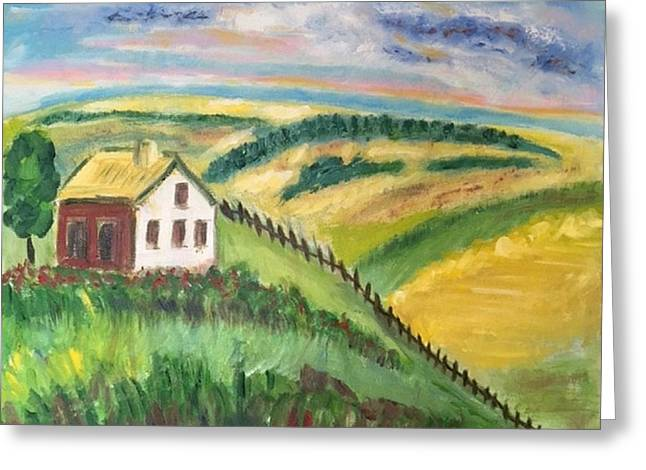 Farmhouse On A Hill Greeting Card by Diane Pape