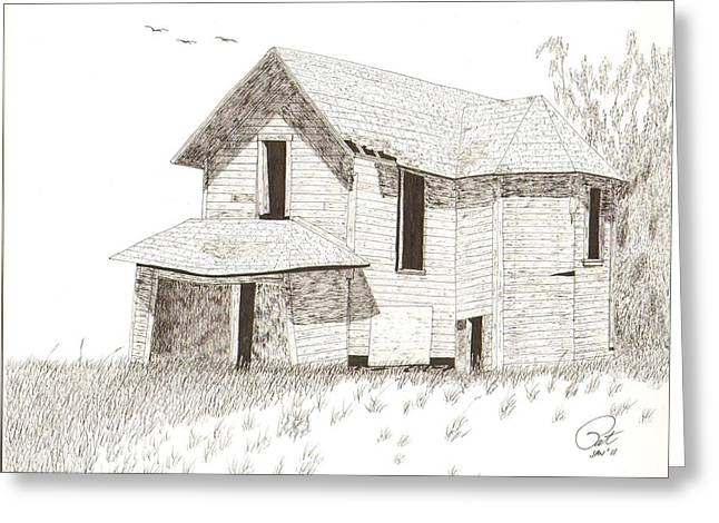 Dilapidated Drawings Greeting Cards - Farmhouse Greeting Card by Pat Price