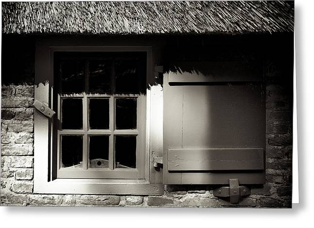 Thatched Roof Greeting Cards - Farmhouse Window Greeting Card by Dave Bowman