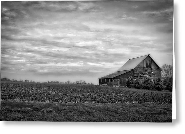 Farming Midwest American Barn Bw Greeting Card by Thomas Woolworth