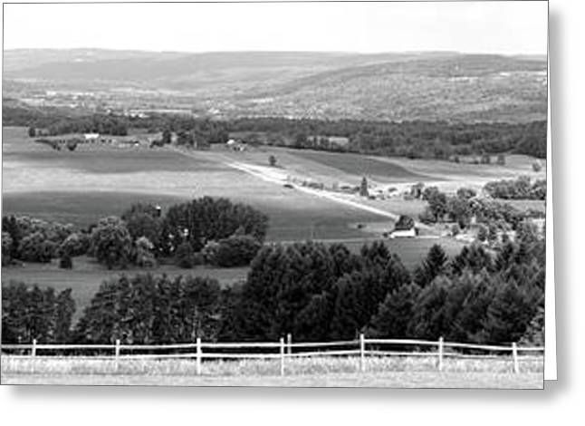 Farming Panorama Finger Lakes New York Bw Greeting Card by Thomas Woolworth