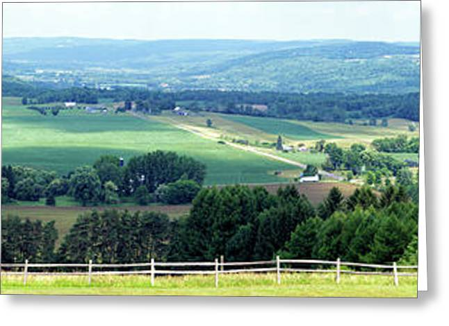Farming Panorama Finger Lakes New York Greeting Card by Thomas Woolworth