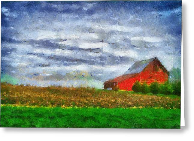 Farming Red Barn On A Quite Spring Day Pa 05 Greeting Card by Thomas Woolworth