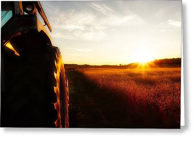 Farming Until Sunset Greeting Card