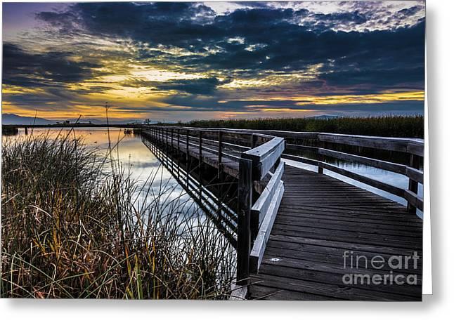 Farmington Bay Sunset - Great Salt Lake Greeting Card