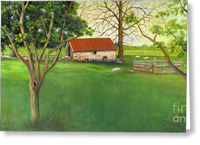 Greeting Card featuring the painting Farmland Scene by Marlene Book