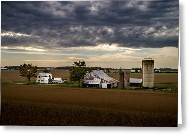 Farmstead Under Clouds Greeting Card
