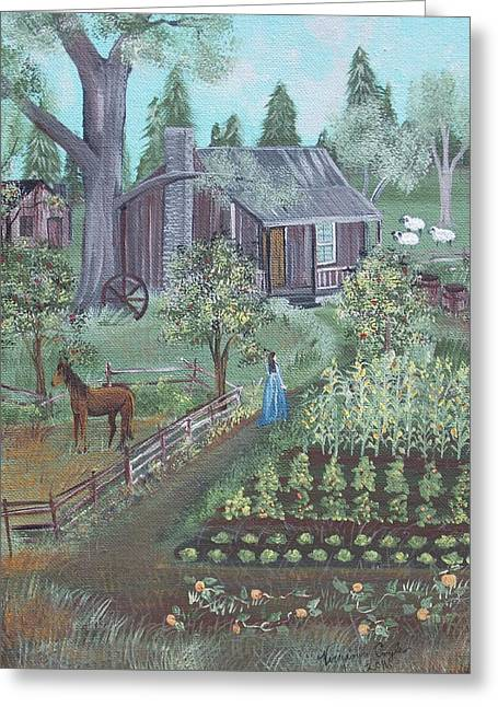 Farmstead Greeting Card by Virginia Coyle