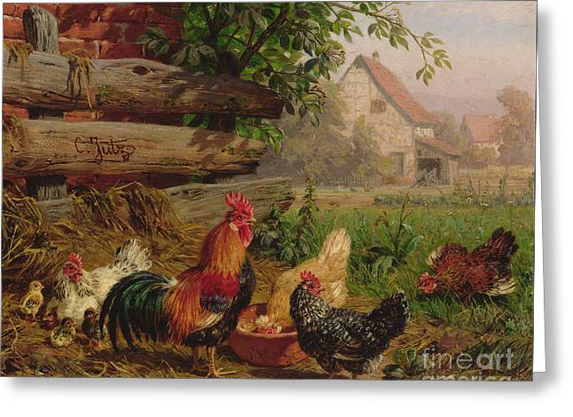 Farmyard Chickens Greeting Card by Carl Jutz