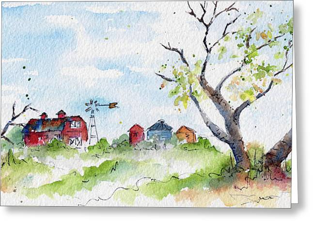 Farmyard From Afar Greeting Card