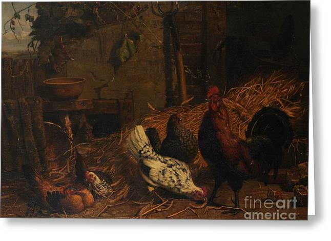 Farmyard Scene With Chickens And A Rooster Greeting Card