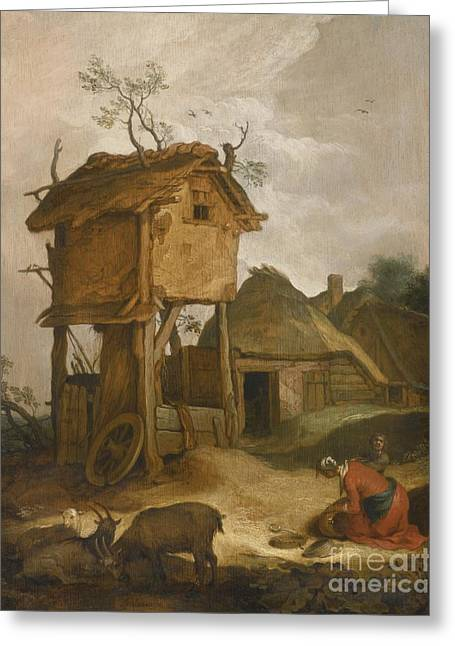 Farmyard With Dovecote Greeting Card by Celestial Images