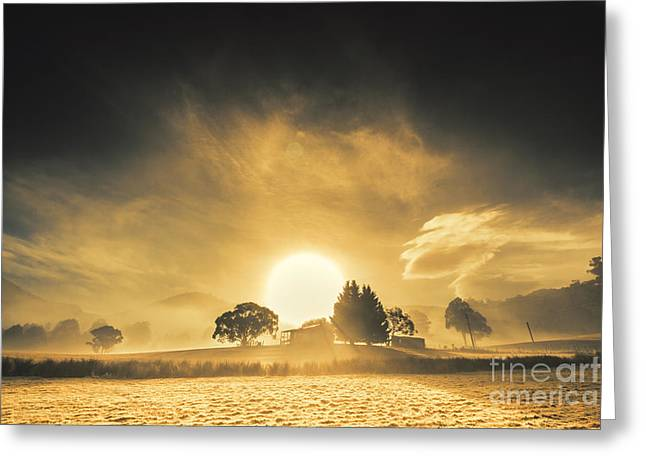 Farmyards And Silhouettes Greeting Card