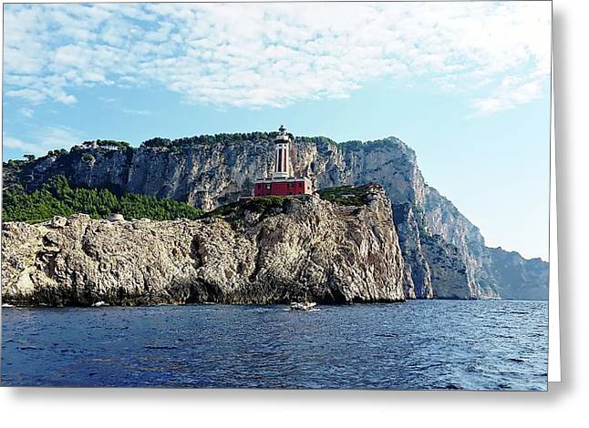 Greeting Card featuring the digital art Faro Lighthouse - Ise Of Capri by Joseph Hendrix