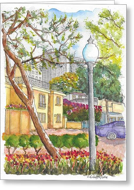 Farola In Roxbury Park, Beverly Hills, California Greeting Card