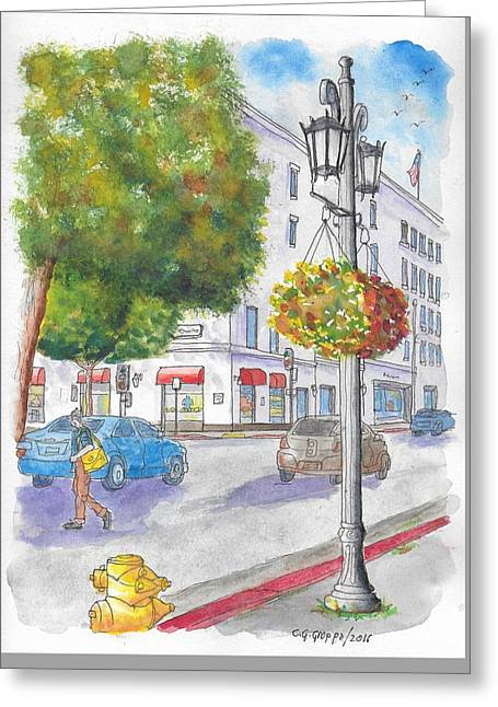 Farola With Flowers In Wilshire Blvd., Beverly Hills, California Greeting Card