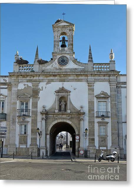 Faro's Old Town Main Gate Arco Da Vila. Portugal Greeting Card by Angelo DeVal