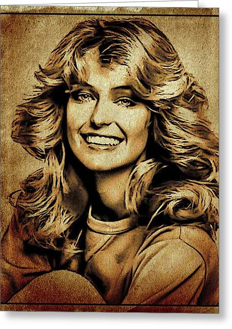 Farrah Fawcett Hollywood Actress Greeting Card by Esoterica Art Agency