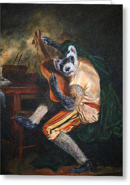 Ferret Greeting Cards - Farret Guitarist Greeting Card by Karen  Peterson