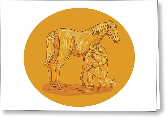 Farrier Placing Shoe On Horse Hoof Circle Drawing Greeting Card
