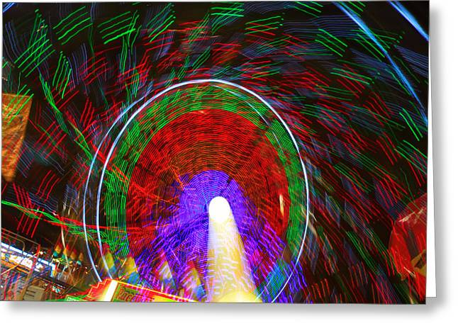 Farris Wheel Crazy Light Abstract Greeting Card by James BO  Insogna