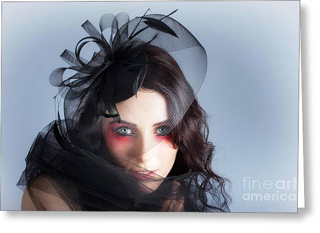 Fascinating Makeup Woman In High Fashion Hat  Greeting Card