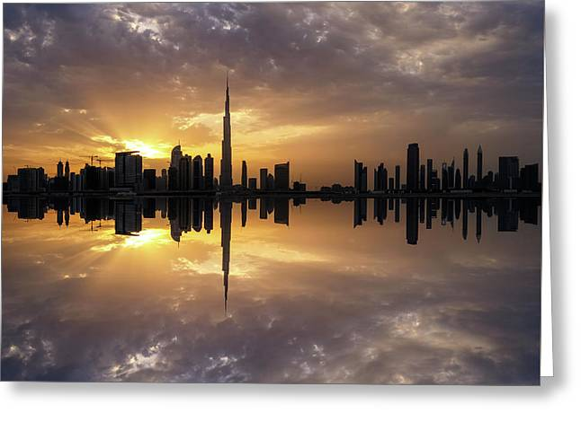 Fascinating Reflection In Business Bay District During Dramatic Sunset. Dubai, United Arab Emirates. Greeting Card