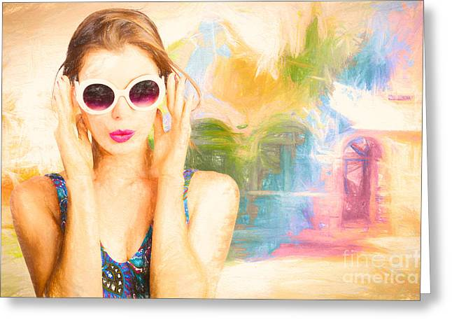 Fashion Art Pinup Woman Greeting Card by Jorgo Photography - Wall Art Gallery