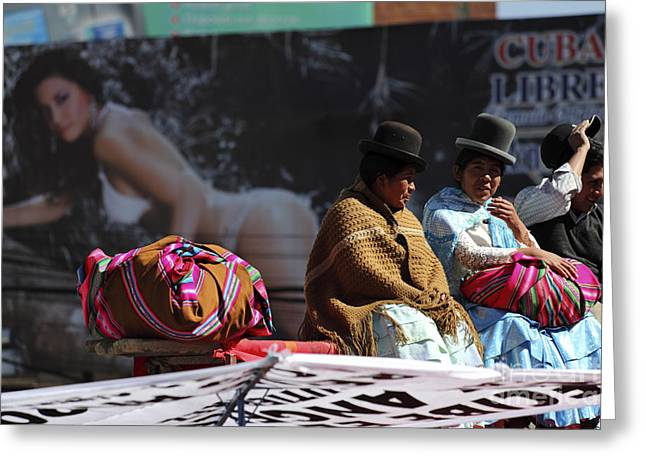 Fashion Contrasts In Bolivia Greeting Card by James Brunker